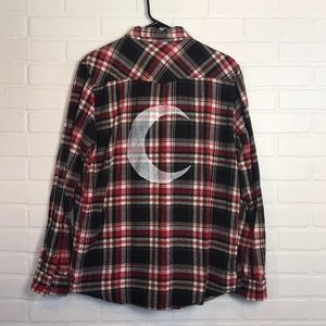 Crescent Moon Flannel Unisex M Red Black Western